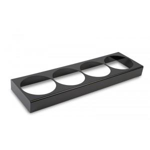 Plexi houder 4 sal. rond/6hoek 2,5l ZWART - 875x260x80mm