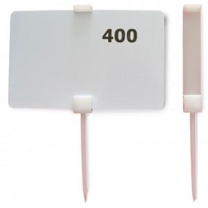Pic plastique BLANC 110mm pr etiquette 54x86mm /PC (50pc/sac