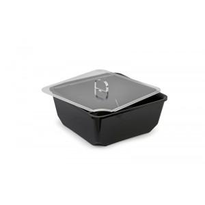 Plexi couvercle carré avec encoche cuillère - 200x200mm