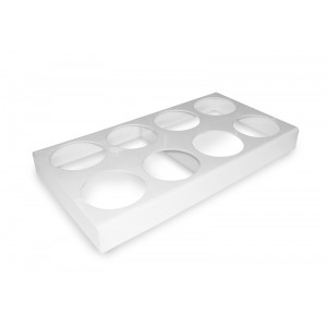 Plexi holder 8 sal. round/hexa 1,5l WHITE - 800x440x85mm