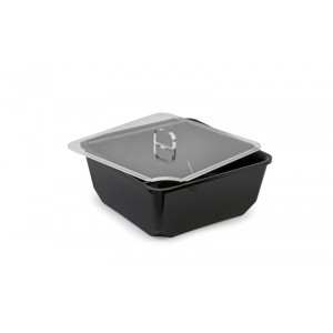 Plexi lid square with spoon recess - 200x200mm