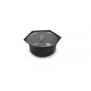 Plexi lid salad dish round/hex. 1,5l with spoon recess